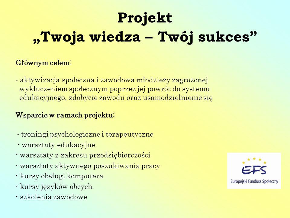 Projekt Twoja wiedza – Twój sukces Głównym celem: - aktywizacja społeczna i zawodowa młodzieży zagrożonej wykluczeniem społecznym poprzez jej powrót d
