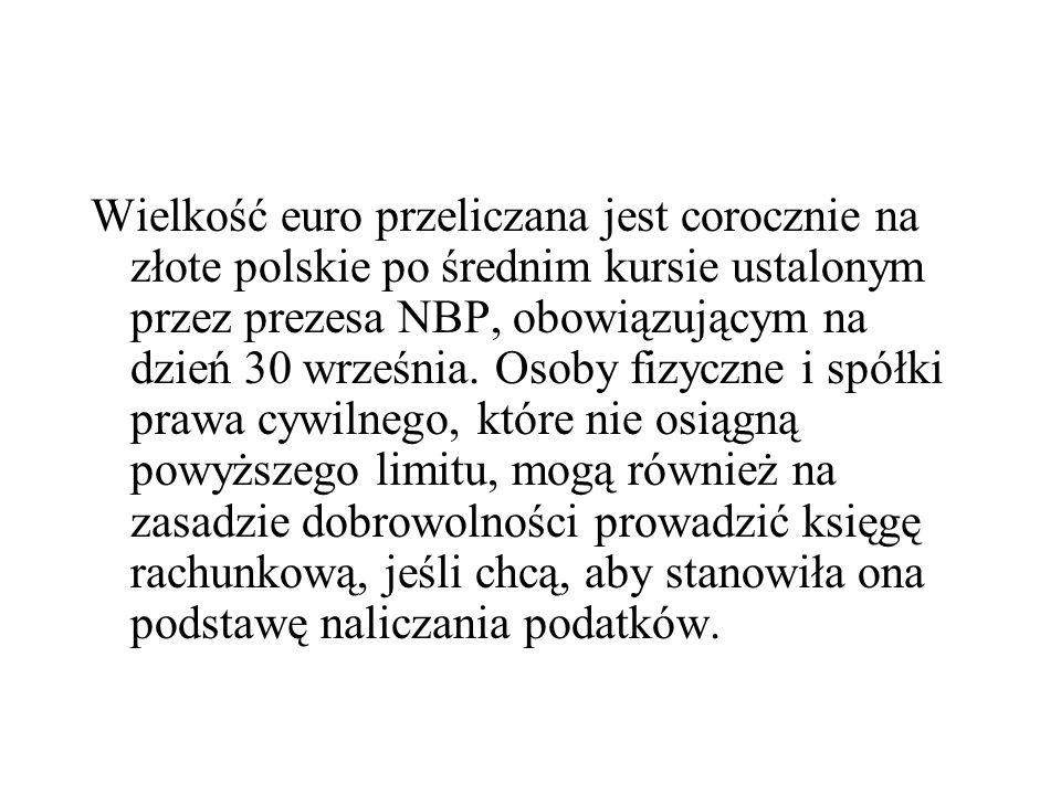 Wielkość euro przeliczana jest corocznie na złote polskie po średnim kursie ustalonym przez prezesa NBP, obowiązującym na dzień 30 września.