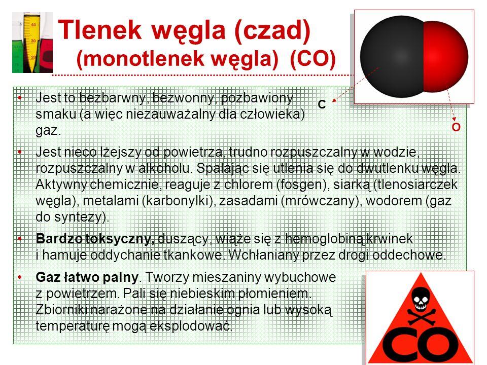 Tlenek węgla – właściwości chemiczne Połączenie atomu węgla i tlenu (CO) Masa cząsteczkowa: 28,01 Stan skupienia w temp. 20°C: gaz Barwa: bezbarwny Te
