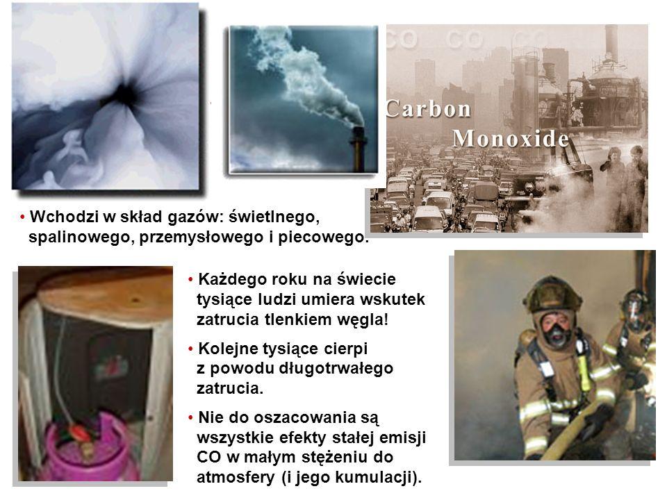 Tlenek węgla (czad) (monotlenek węgla) (CO) Jest to bezbarwny, bezwonny, pozbawiony smaku (a więc niezauważalny dla człowieka) gaz. Jest nieco lżejszy