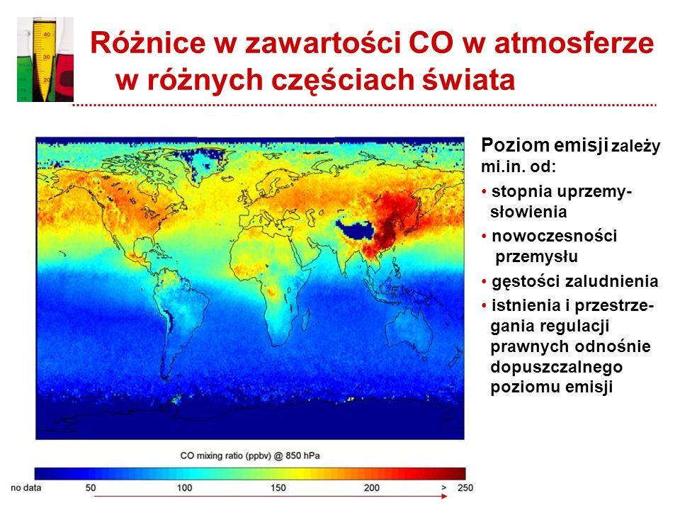 Emisja CO do atmosfery Przykładowo, w Europie, w roku 2001, zostało wyemitowane 30 679 Gg CO. Głównym źródłem antropogenicznego CO w powietrzu był tra