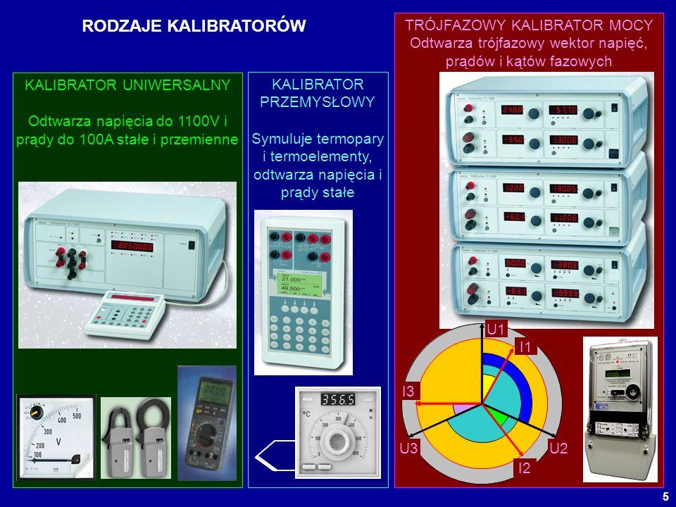 5 RODZAJE KALIBRATORÓW KALIBRATOR UNIWERSALNY Odtwarza napięcia do 1100V i prądy do 100A stałe i przemienne KALIBRATOR PRZEMYSŁOWY Symuluje termopary