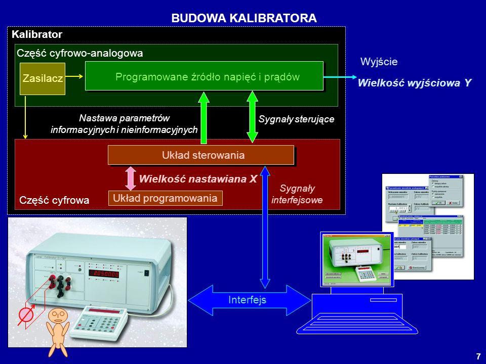7 BUDOWA KALIBRATORA Programowane źródło napięć i prądów Zasilacz Nastawa parametrów informacyjnych i nieinformacyjnych Sygnały sterujące Układ sterow