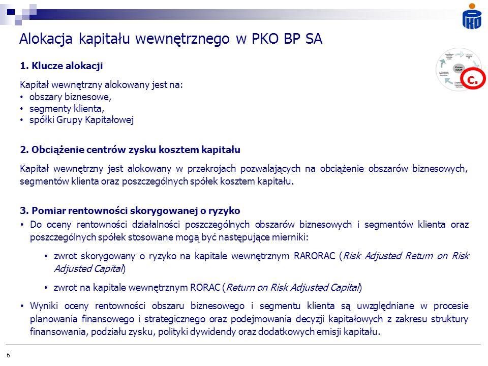 6 Alokacja kapitału wewnętrznego w PKO BP SA 1. Klucze alokacji Kapitał wewnętrzny alokowany jest na: obszary biznesowe, segmenty klienta, spółki Grup
