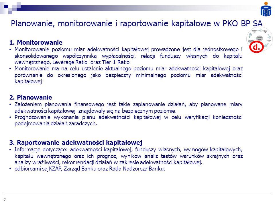 7 Planowanie, monitorowanie i raportowanie kapitałowe w PKO BP SA 3. Raportowanie adekwatności kapitałowej Informacje dotyczące: adekwatności kapitało