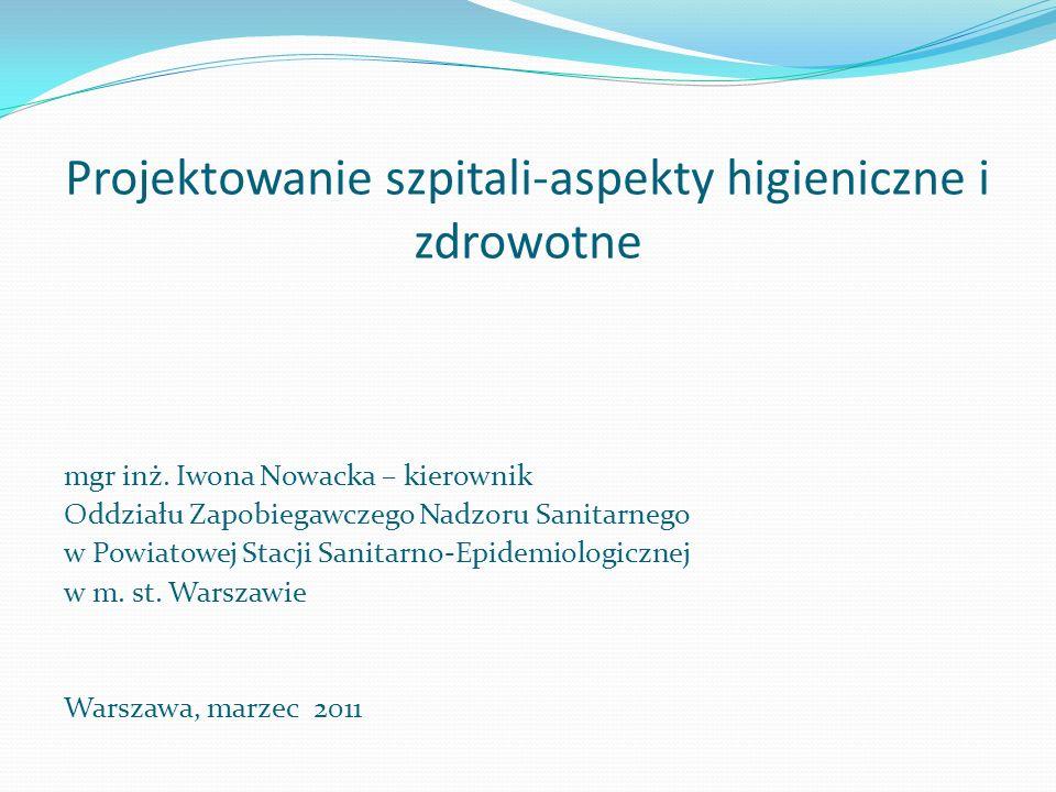 Projektowanie szpitali-aspekty higieniczne i zdrowotne mgr inż. Iwona Nowacka – kierownik Oddziału Zapobiegawczego Nadzoru Sanitarnego w Powiatowej St