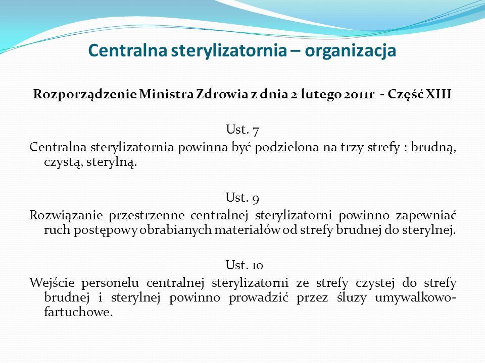 Centralna sterylizatornia – organizacja Rozporządzenie Ministra Zdrowia z dnia 2 lutego 2011r - Część XIII Ust. 7 Centralna sterylizatornia powinna by