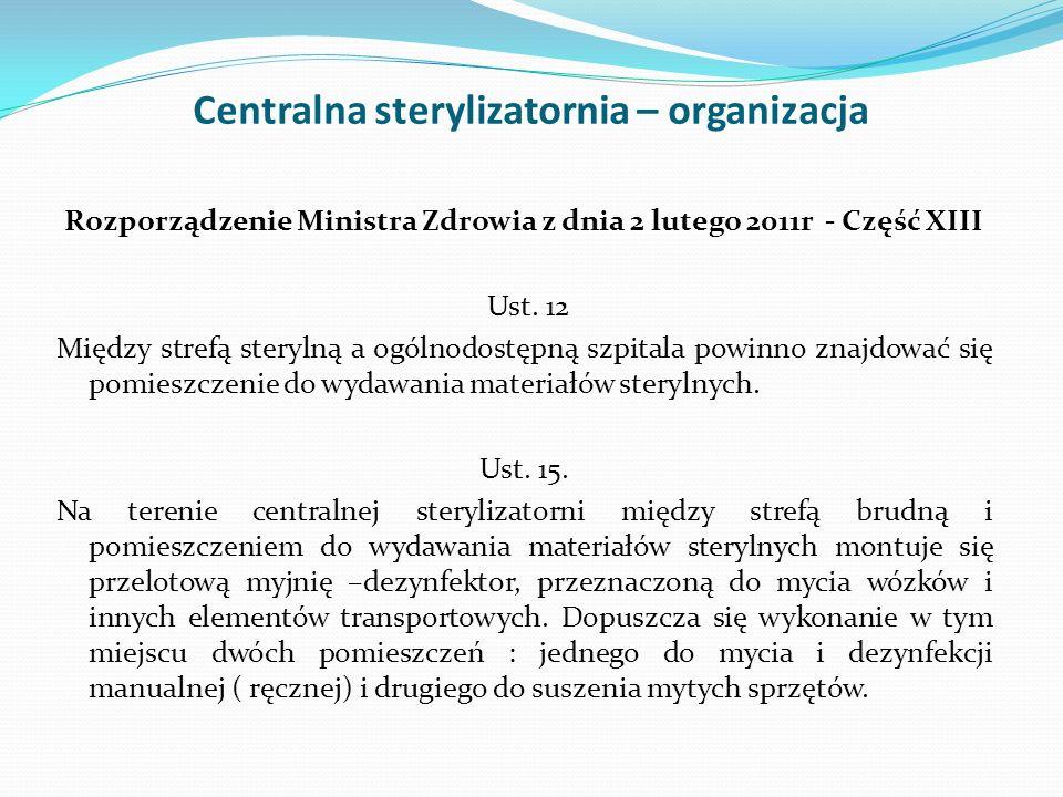 Centralna sterylizatornia – organizacja Rozporządzenie Ministra Zdrowia z dnia 2 lutego 2011r - Część XIII Ust. 12 Między strefą sterylną a ogólnodost