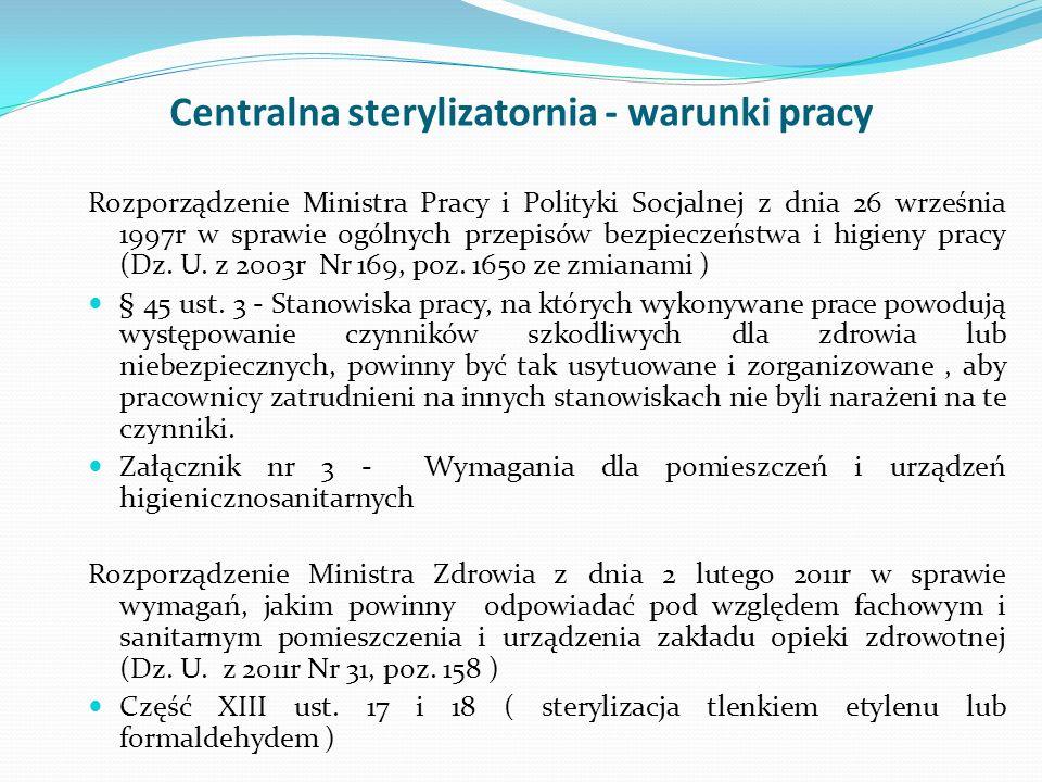 Centralna sterylizatornia - warunki pracy Rozporządzenie Ministra Pracy i Polityki Socjalnej z dnia 26 września 1997r w sprawie ogólnych przepisów bez