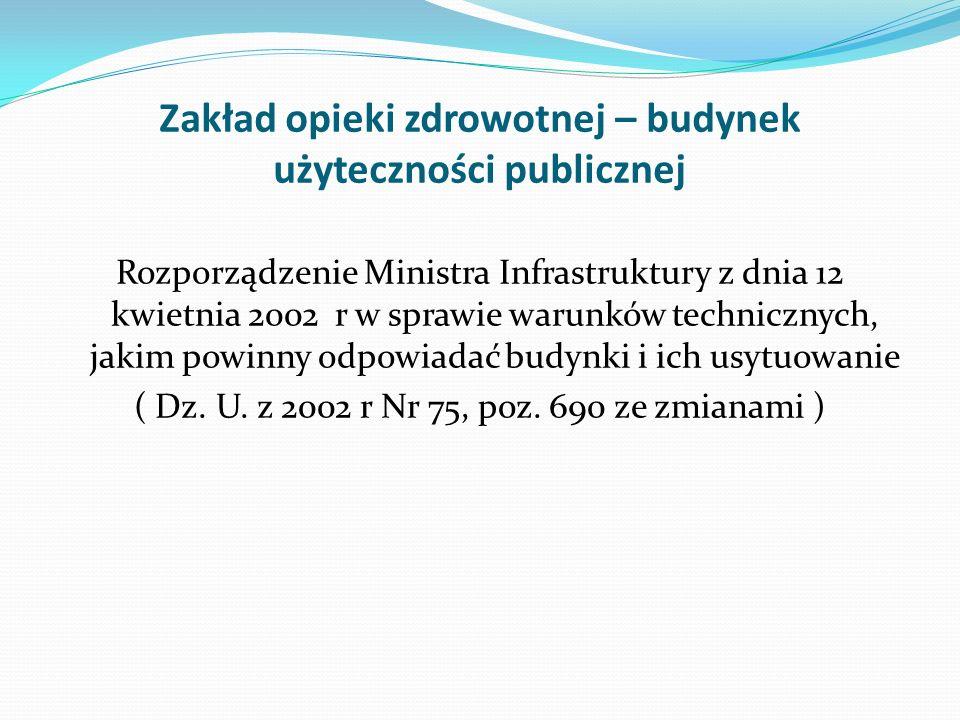 Zakład opieki zdrowotnej – budynek użyteczności publicznej Rozporządzenie Ministra Infrastruktury z dnia 12 kwietnia 2002 r w sprawie warunków technic