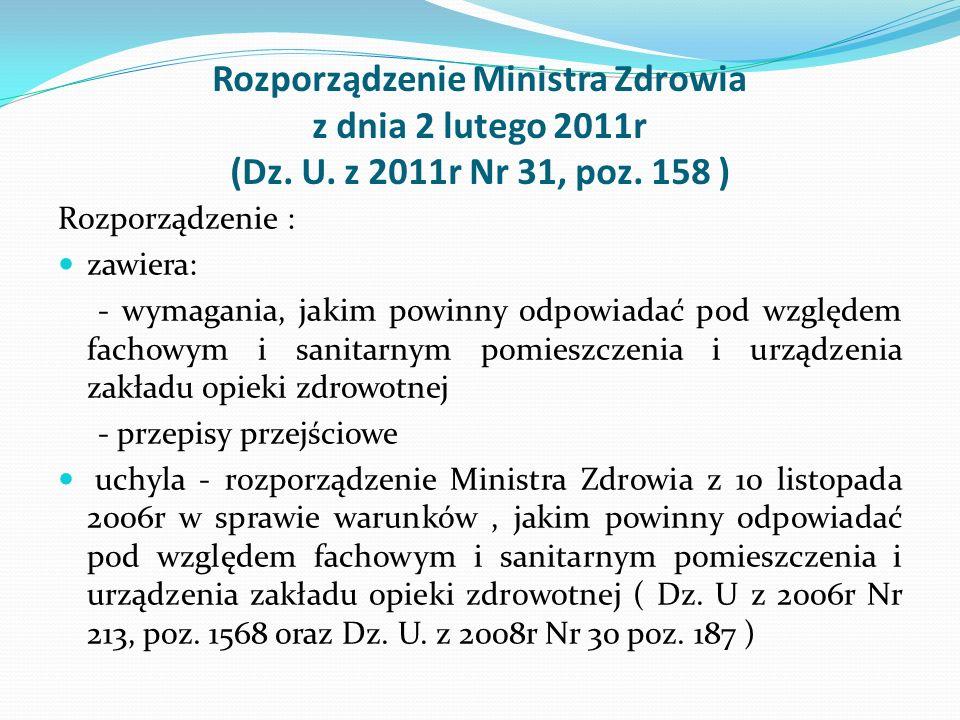 Rozporządzenie Ministra Zdrowia z dnia 2 lutego 2011r (Dz. U. z 2011r Nr 31, poz. 158 ) Rozporządzenie : zawiera: - wymagania, jakim powinny odpowiada