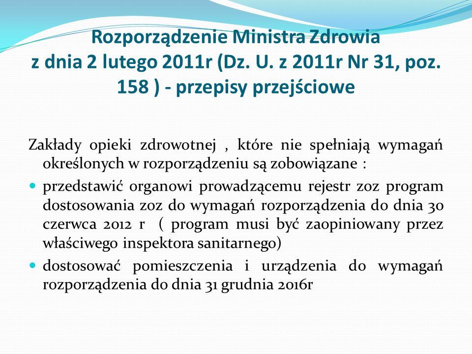 Rozporządzenie Ministra Zdrowia z dnia 2 lutego 2011r (Dz. U. z 2011r Nr 31, poz. 158 ) - przepisy przejściowe Zakłady opieki zdrowotnej, które nie sp