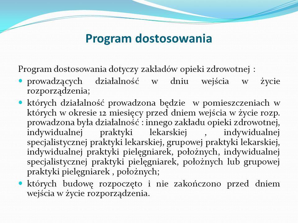 Program dostosowania Program dostosowania dotyczy zakładów opieki zdrowotnej : prowadzących działalność w dniu wejścia w życie rozporządzenia; których