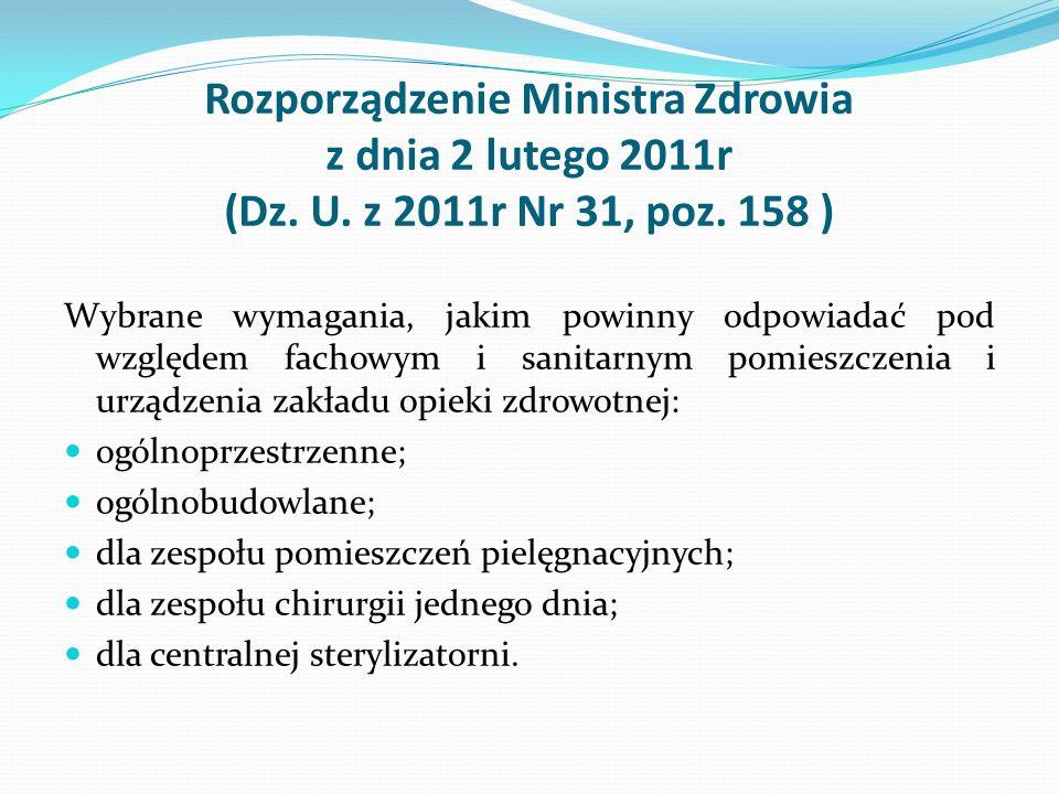 Rozporządzenie Ministra Zdrowia z dnia 2 lutego 2011r (Dz. U. z 2011r Nr 31, poz. 158 ) Wybrane wymagania, jakim powinny odpowiadać pod względem facho
