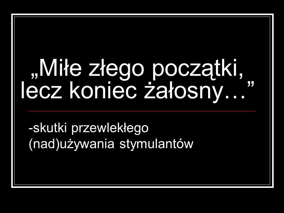 Różnicowanie ze schizofrenią paranoidalną Trudne (!!!), często nie możliwe bez wykazania amfetaminy w moczu Brak rozkojarzonego myślenia głównie halucynacje wzrokowe (w schizofrenii słuchowe) Halucynacje dotykowe i węchowe – rzadkie u schizofreników Gwałtowny początek Objawy wegetatywne np.