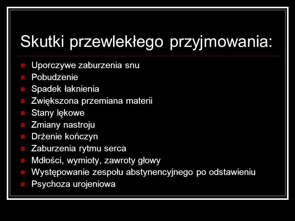 Psychoza poamfetaminowa: Trudna do odróżnienia od schizofrenii paranoidalnej Halucynacje Urojenia, głównie prześladowcze, ksobne Brak rozkojarzenia (!!!) lęk Stereotypie Urojona parazytoza Najczęściej ustępuje samoistnie po 6-7 dniach od zaprzestania brania Nawraca po ponownym przyjęciu