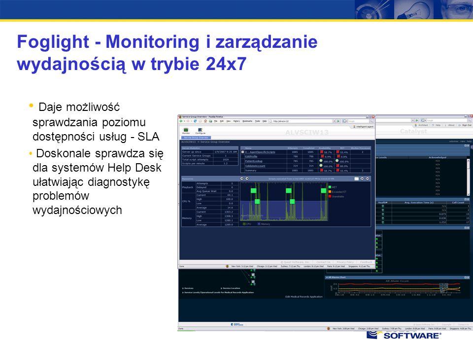 Foglight - Monitoring i zarządzanie wydajnością w trybie 24x7 Daje możliwość sprawdzania poziomu dostępności usług - SLA Doskonale sprawdza się dla systemów Help Desk ułatwiając diagnostykę problemów wydajnościowych
