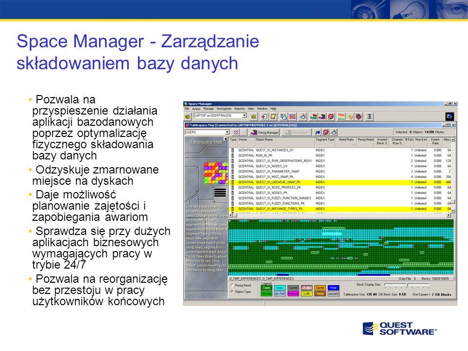 Space Manager - Zarządzanie składowaniem bazy danych Pozwala na przyspieszenie działania aplikacji bazodanowych poprzez optymalizację fizycznego składowania bazy danych Odzyskuje zmarnowane miejsce na dyskach Daje możliwość planowanie zajętości i zapobiegania awariom Sprawdza się przy dużych aplikacjach biznesowych wymagających pracy w trybie 24/7 Pozwala na reorganizację bez przestoju w pracy użytkowników końcowych