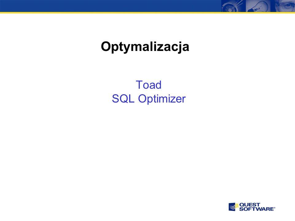 SQL Optimizer Pozwala przyspieszyć działanie systemów bazodanowych poprzez pisanie wydajniejszych zapytań SQL Optymalizacja pozwala na zmniejszenie zużycia zasobów systemów bazodanowych Daje możliwość testowania nowych ustawień indeksów oraz analizować wpływu ich dodania