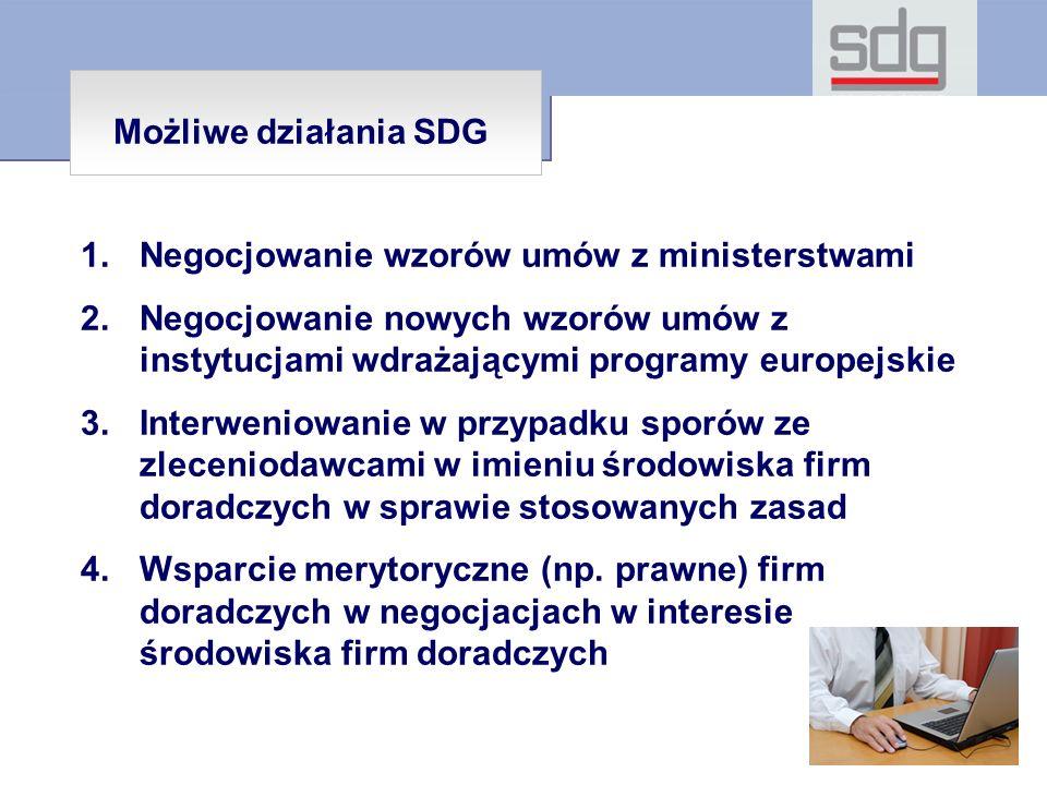 1.Negocjowanie wzorów umów z ministerstwami 2.Negocjowanie nowych wzorów umów z instytucjami wdrażającymi programy europejskie 3.Interweniowanie w przypadku sporów ze zleceniodawcami w imieniu środowiska firm doradczych w sprawie stosowanych zasad 4.Wsparcie merytoryczne (np.