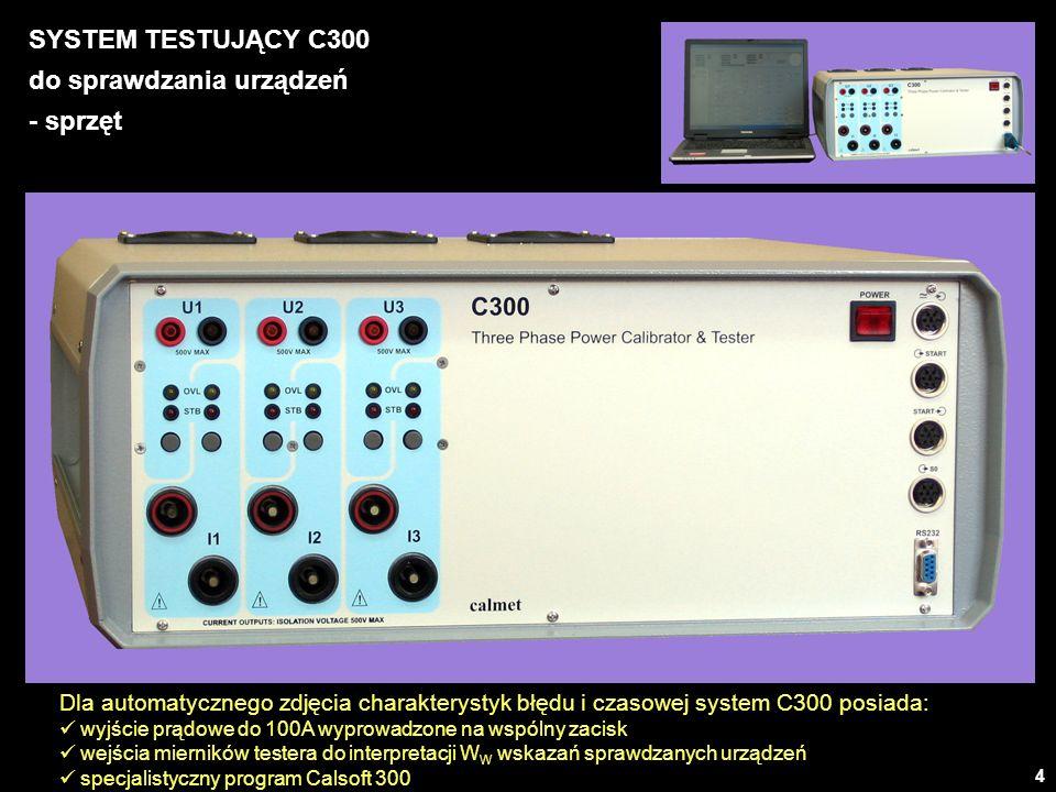 5 SYSTEM TESTUJĄCY C300 do sprawdzania urządzeń – parametry źródła ParametrZakresZakres nastawRozdzielczośćBłąd podstawowyObciążalność Napięcie U 60V0,5000...60,0000V0,0001V 0,04% nastawy 0,01% zakresu 460mA@60V 130V1,000...130,000V0,001V230mA@130V 250V2,000...250,000V0,001V115mA@250V 500V5,000...500,000V0,001V55mA@500V Prąd I 0,5A0,005000...0,500000A0,000001A 0,04% nastawy 0,01% zakresu 15V@0,5A 6A0,05000...6,00000A0,00001A7V@6A 20A0,2000...20,0000A0,0001A2,2V@20A 100A1,000...100,000A0,001A0,1% nastawy 0,01% zakresu1,0V@50A 0,4V@100A Częstotliwość f 45,000...99,999Hz0,001Hz0,002Hz 100,000...500,000Hz0,001Hz0,01Hz Kąt fazowy 0,00...360,00°0,01°0,1° Moc czynna P0...3x50000,0W0,00001-1W0,05% Moc bierna Q0...3x50000,0var0,00001-1var0,05% Moc pozorna S0...3x50000,0VA0,00001-1VA0,05% Czas1...36000s1s0,01% 0,001s Energiawynika z nastaw i rozdzielczości mocy i czasu0,05% Harmoniczne amplituda harmonicznej i faza harmonicznej w zakresach 0...100% i 0...360 do 31-tej harmonicznej lub do 3200Hz