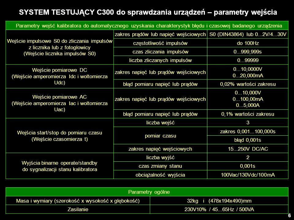 6 SYSTEM TESTUJĄCY C300 do sprawdzania urządzeń – parametry wejścia Parametry wejść kalibratora do automatycznego uzyskania charakterystyk błędu i cza