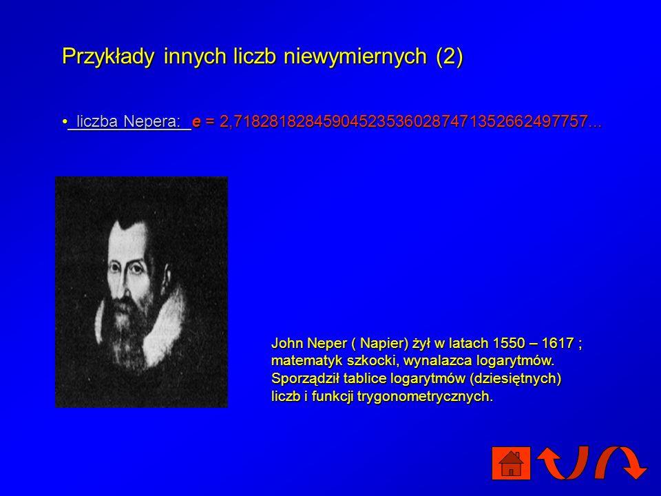 Przykłady innych liczb niewymiernych (1) liczba Archimedesa: liczba Archimedesa: L – długość okręgu r – promień okręgu L – długość okręgu r – promień