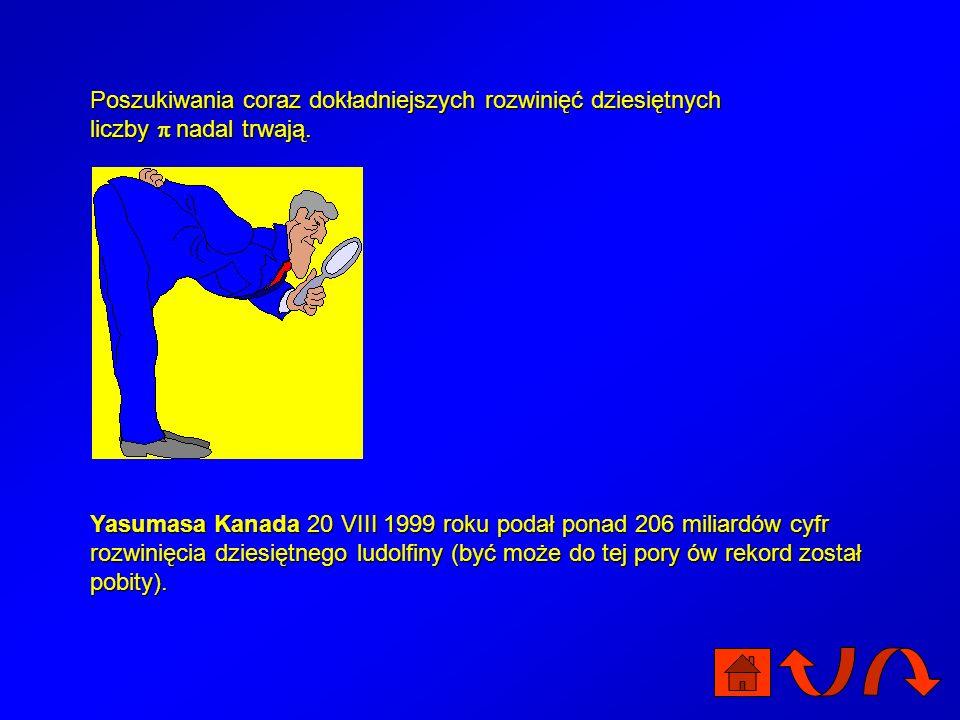 AutorzyRokLiczba cyfr George Reitwiesner i jego współpracownicy19492037 S.C. Nicholson i J. Jeenel19543092 G.E. Felton19577480 Francois Genuys19581000