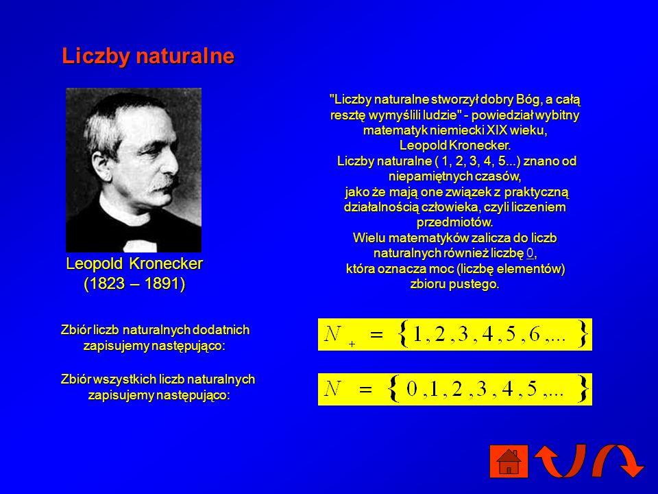 Liczby naturalne Liczby naturalne stworzył dobry Bóg, a całą resztę wymyślili ludzie - powiedział wybitny matematyk niemiecki XIX wieku, Leopold Kronecker.