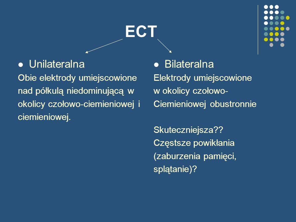ECT Unilateralna Obie elektrody umiejscowione nad półkulą niedominującą w okolicy czołowo-ciemieniowej i ciemieniowej. Bilateralna Elektrody umiejscow