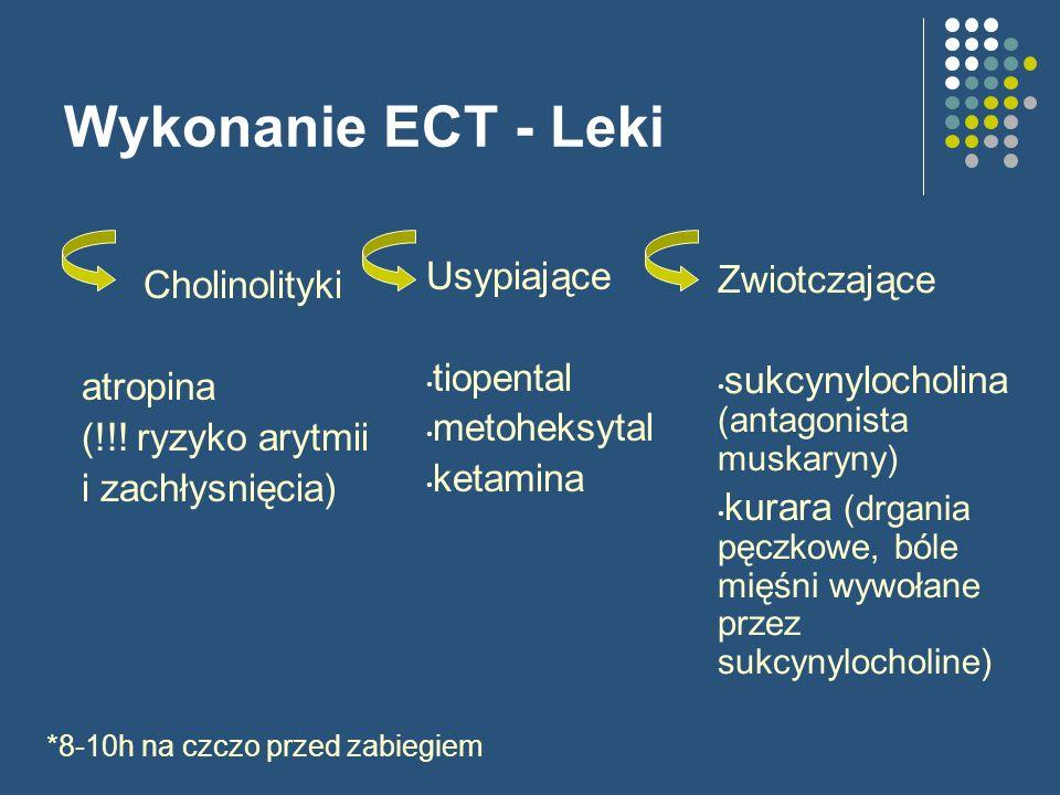 Wykonanie ECT - Leki Cholinolityki atropina (!!! ryzyko arytmii i zachłysnięcia) Usypiające tiopental metoheksytal ketamina *8-10h na czczo przed zabi
