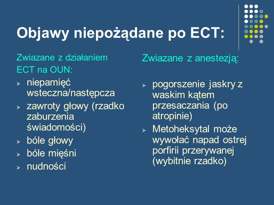 Objawy niepożądane po ECT: Zwiazane z działaniem ECT na OUN: niepamięć wsteczna/następcza zawroty głowy (rzadko zaburzenia świadomości) bóle głowy ból