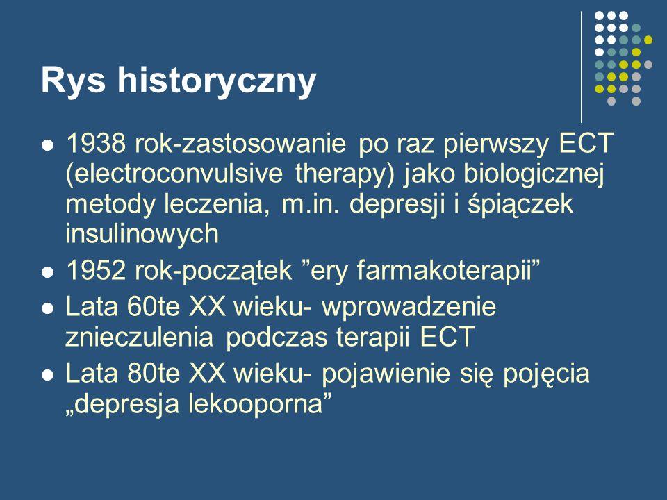 Rys historyczny 1938 rok-zastosowanie po raz pierwszy ECT (electroconvulsive therapy) jako biologicznej metody leczenia, m.in. depresji i śpiączek ins