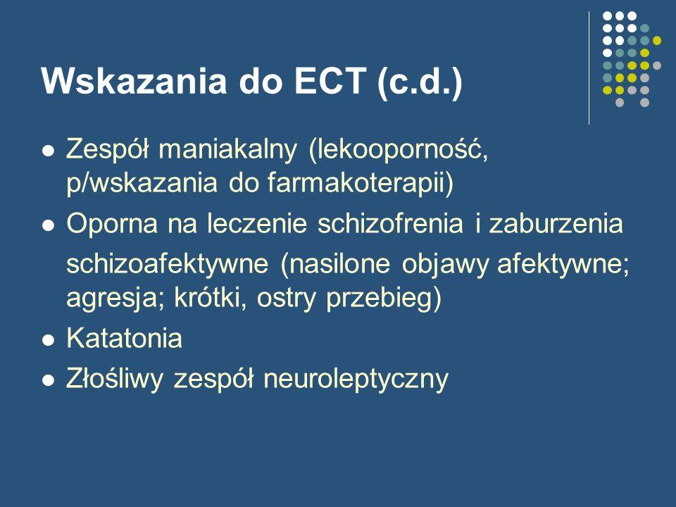 Wskazania do ECT (c.d.) Zespół maniakalny (lekooporność, p/wskazania do farmakoterapii) Oporna na leczenie schizofrenia i zaburzenia schizoafektywne (