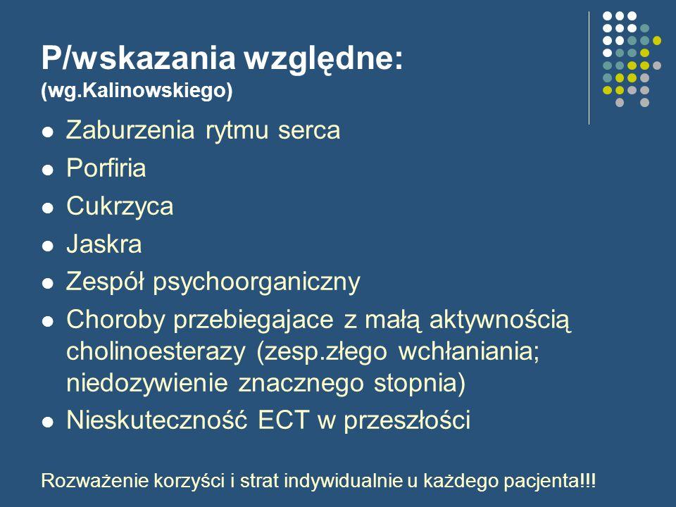 P/wskazania względne: (wg.Kalinowskiego) Zaburzenia rytmu serca Porfiria Cukrzyca Jaskra Zespół psychoorganiczny Choroby przebiegajace z małą aktywnoś