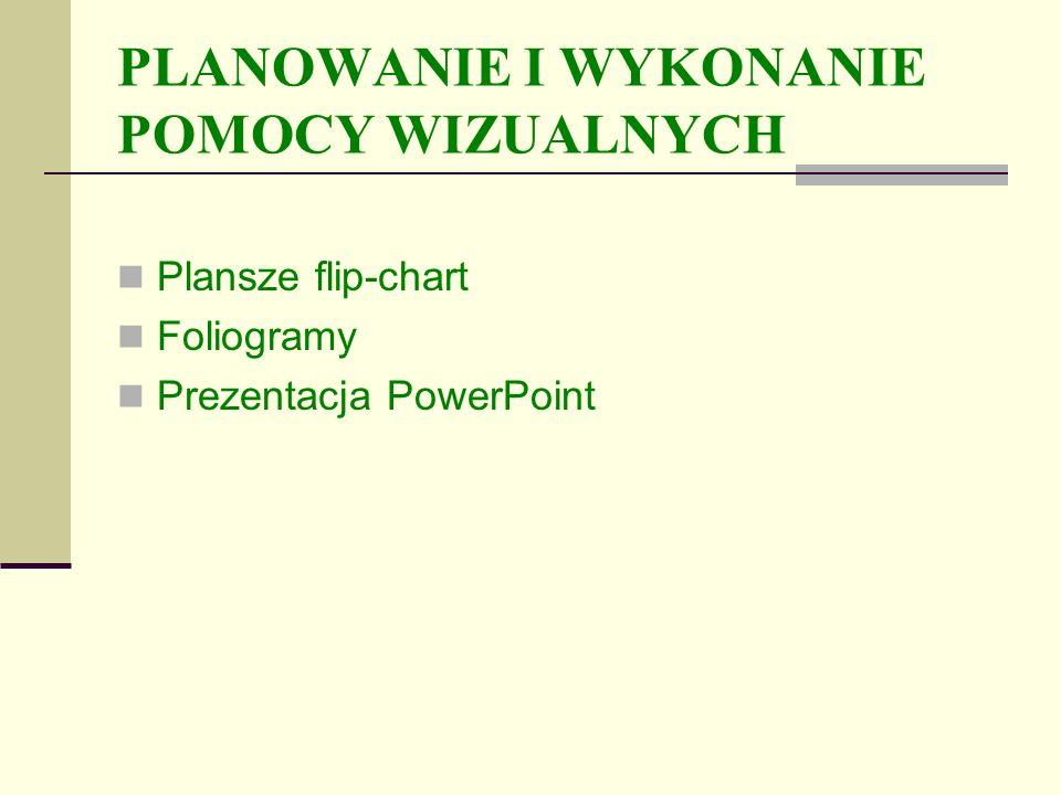 PLANOWANIE I WYKONANIE POMOCY WIZUALNYCH Plansze flip-chart Foliogramy Prezentacja PowerPoint