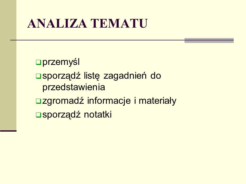 ANALIZA TEMATU przemyśl sporządź listę zagadnień do przedstawienia zgromadź informacje i materiały sporządź notatki