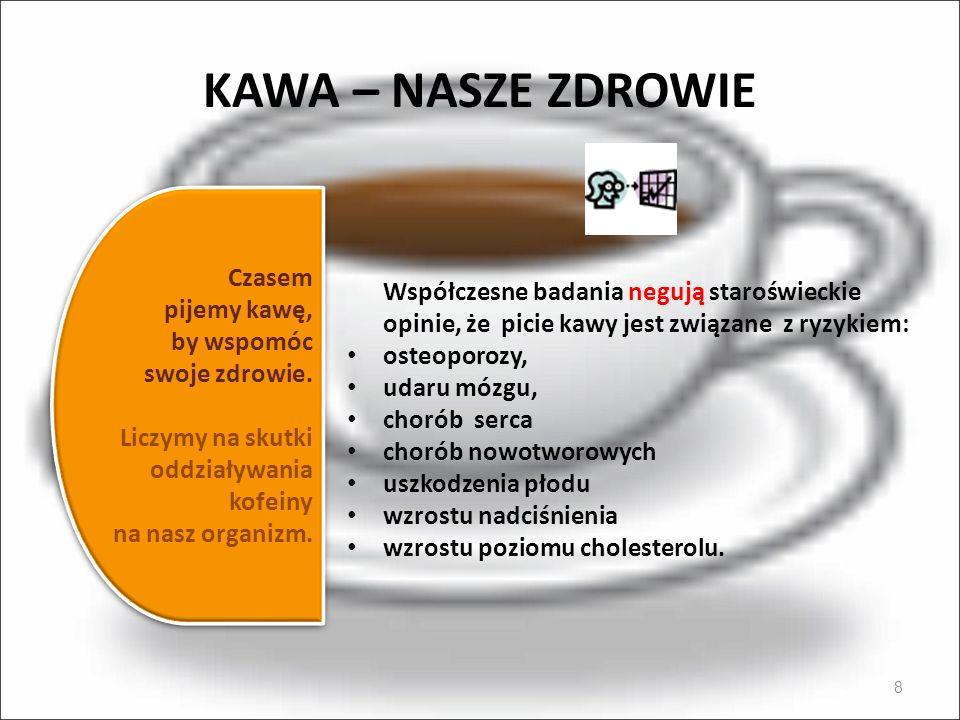 KAWA – NASZE ZDROWIE 8 Współczesne badania negują staroświeckie opinie, że picie kawy jest związane z ryzykiem: osteoporozy, udaru mózgu, chorób serca