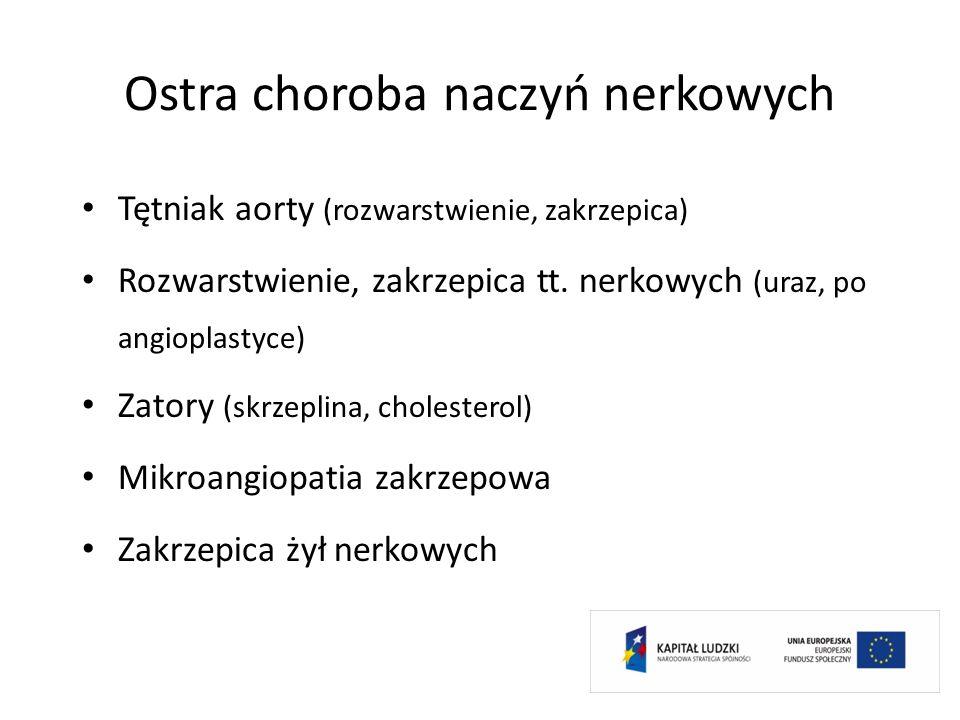 Ostra choroba naczyń nerkowych Tętniak aorty (rozwarstwienie, zakrzepica) Rozwarstwienie, zakrzepica tt. nerkowych (uraz, po angioplastyce) Zatory (sk