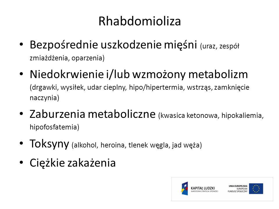 Rhabdomioliza Bezpośrednie uszkodzenie mięśni (uraz, zespół zmiażdżenia, oparzenia) Niedokrwienie i/lub wzmożony metabolizm (drgawki, wysiłek, udar ci