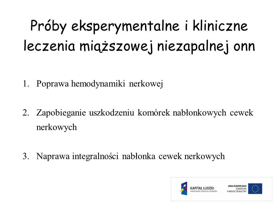 Próby eksperymentalne i kliniczne leczenia miąższowej niezapalnej onn 1.Poprawa hemodynamiki nerkowej 2.Zapobieganie uszkodzeniu komórek nabłonkowych