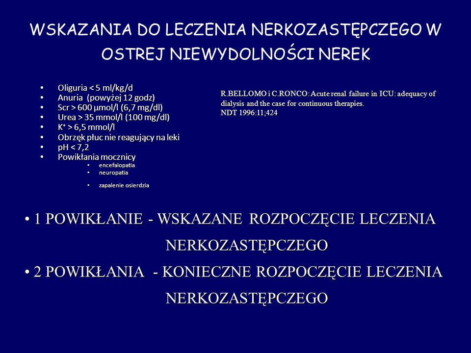 Oliguria < 5 ml/kg/d Oliguria < 5 ml/kg/d Anuria (powyżej 12 godz) Anuria (powyżej 12 godz) Scr > 600 μmol/l (6,7 mg/dl) Scr > 600 μmol/l (6,7 mg/dl)