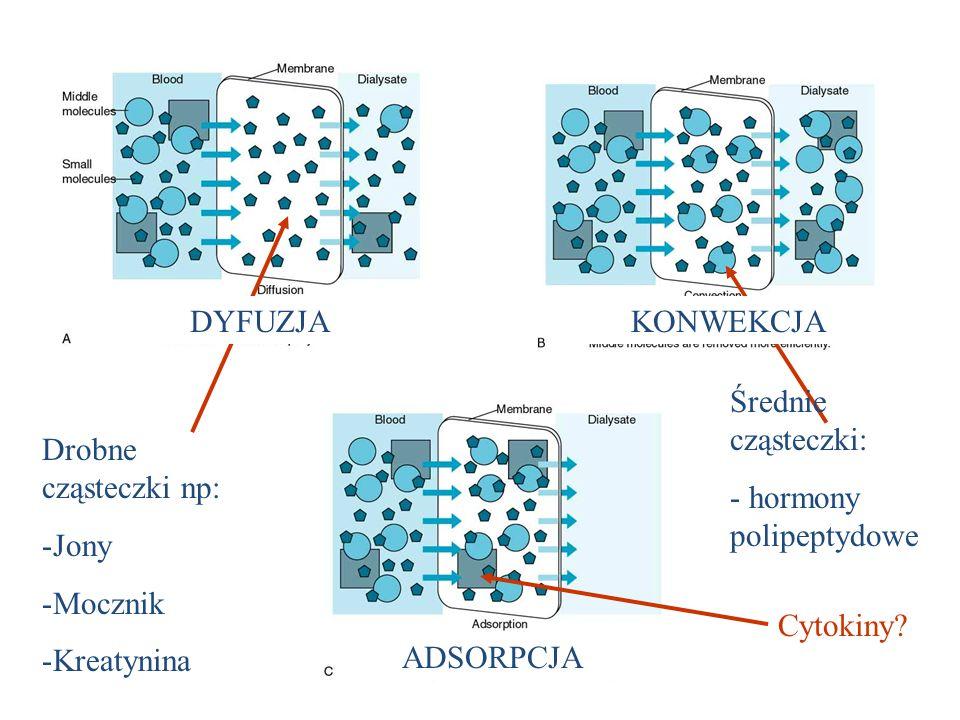 Cytokiny? Drobne cząsteczki np: -Jony -Mocznik -Kreatynina Średnie cząsteczki: - hormony polipeptydowe ADSORPCJA DYFUZJAKONWEKCJA
