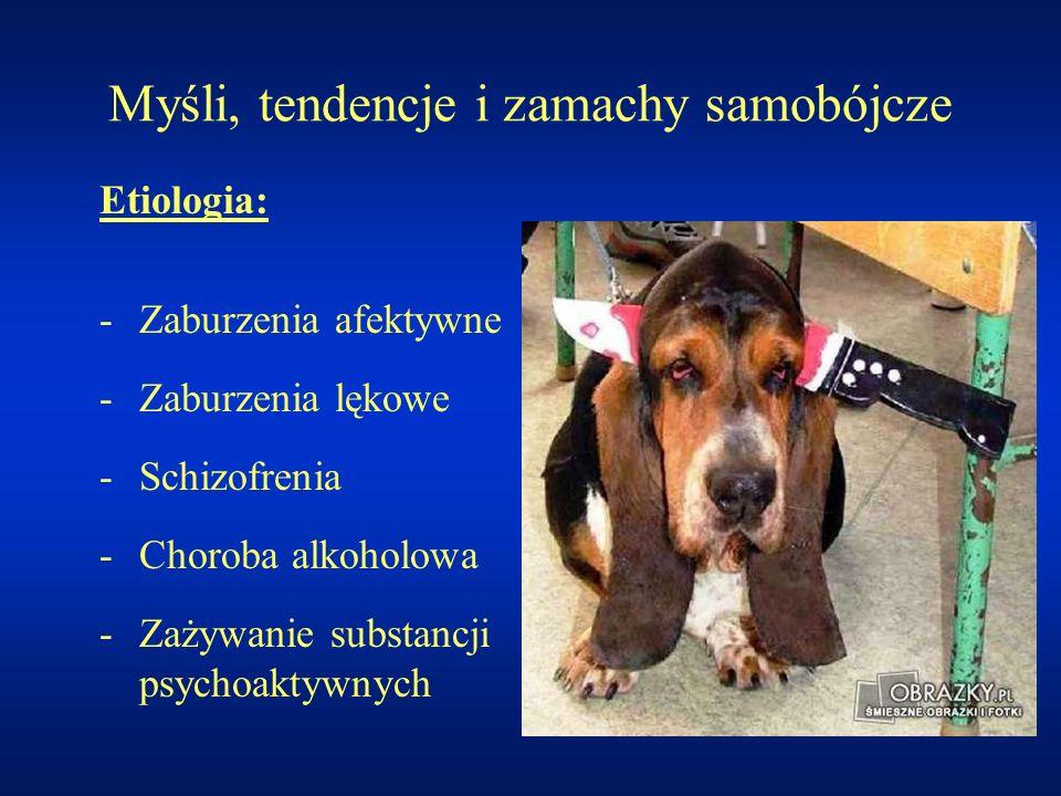 Myśli, tendencje i zamachy samobójcze Etiologia: -Zaburzenia afektywne -Zaburzenia lękowe -Schizofrenia -Choroba alkoholowa -Zażywanie substancji psyc
