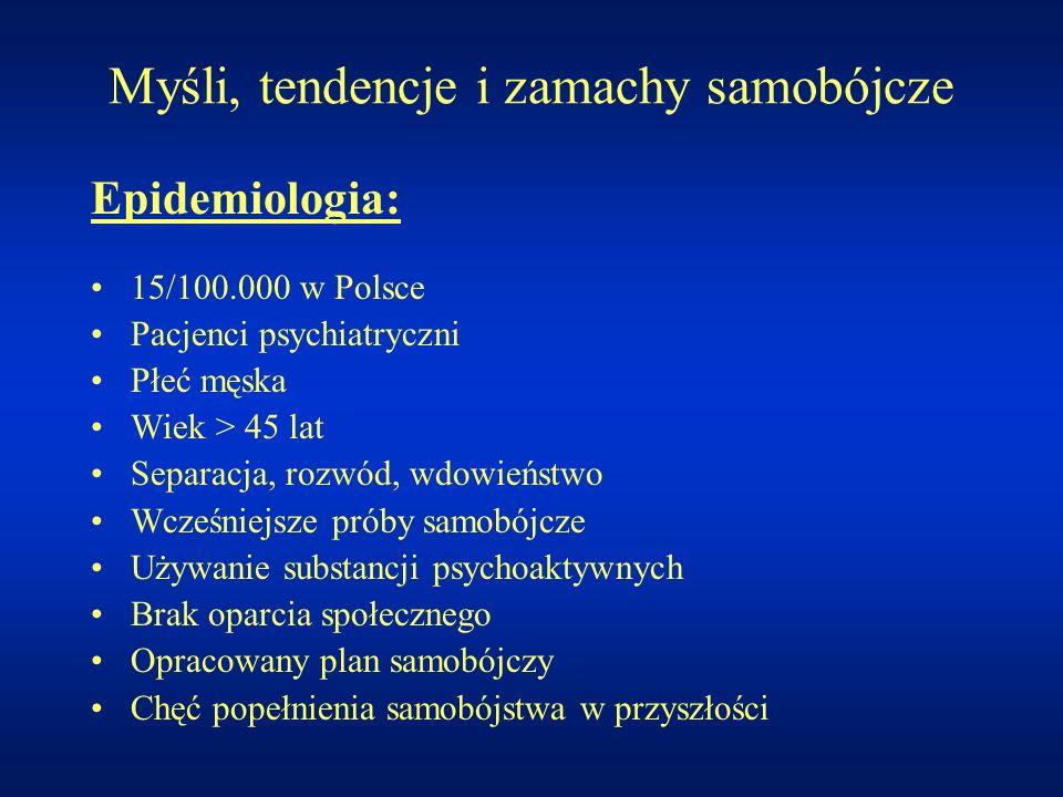 Myśli, tendencje i zamachy samobójcze Epidemiologia: 15/100.000 w Polsce Pacjenci psychiatryczni Płeć męska Wiek > 45 lat Separacja, rozwód, wdowieńst