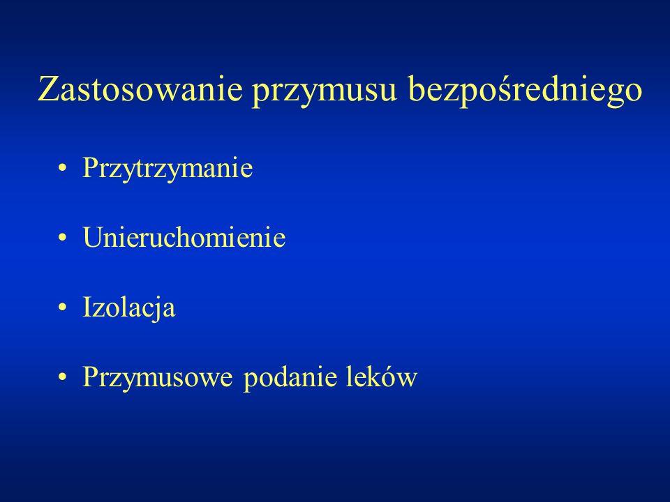 Zastosowanie przymusu bezpośredniego Przytrzymanie Unieruchomienie Izolacja Przymusowe podanie leków