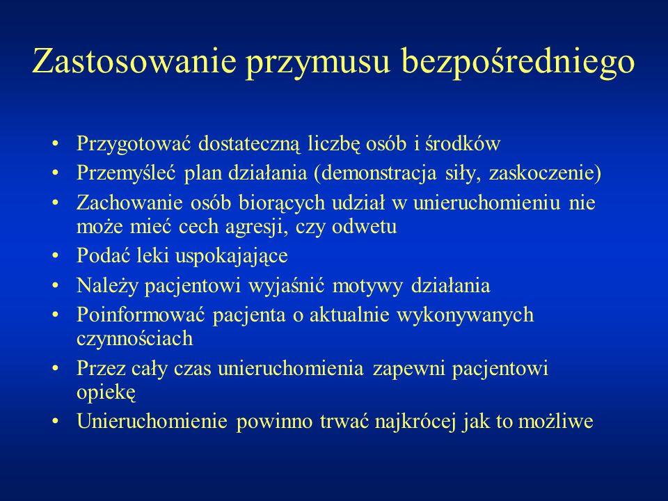 Zastosowanie przymusu bezpośredniego Przygotować dostateczną liczbę osób i środków Przemyśleć plan działania (demonstracja siły, zaskoczenie) Zachowan
