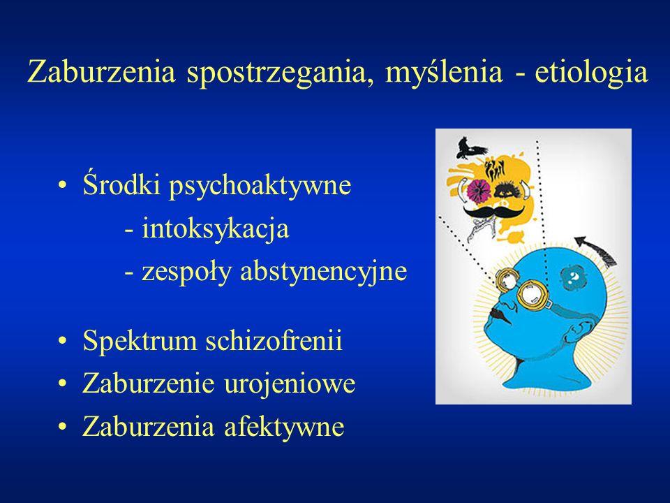 Zaburzenia spostrzegania, myślenia - etiologia Środki psychoaktywne - intoksykacja - zespoły abstynencyjne Spektrum schizofrenii Zaburzenie urojeniowe