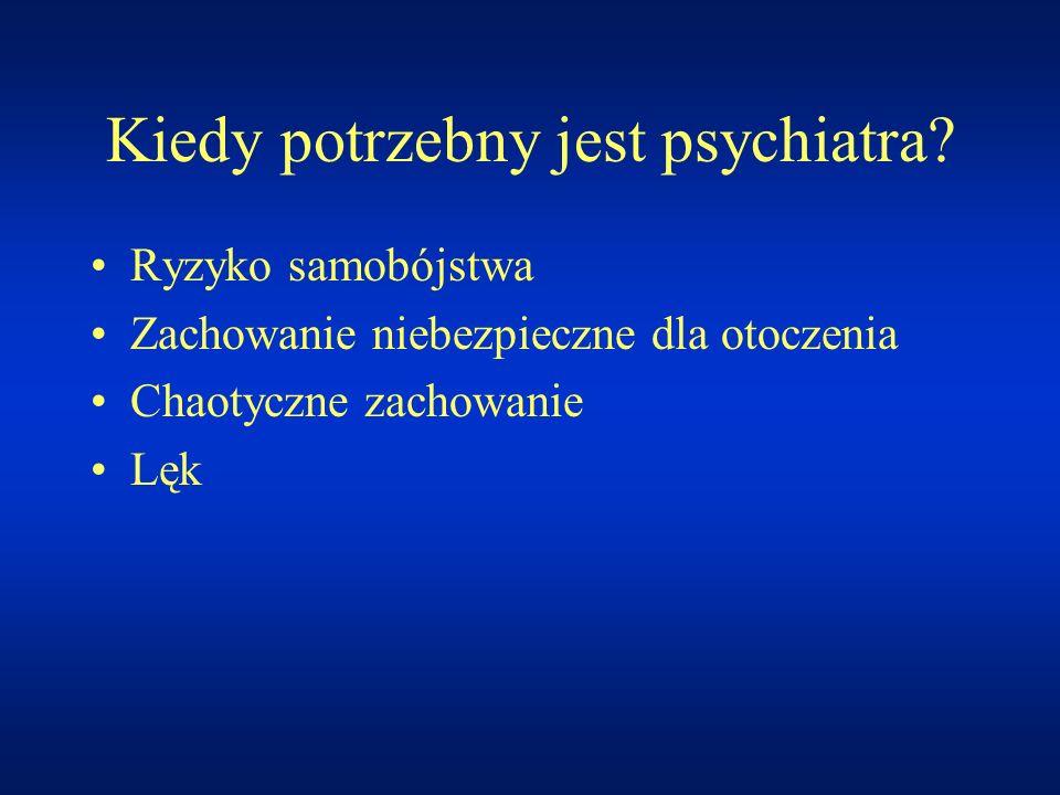 Kiedy potrzebny jest psychiatra? Ryzyko samobójstwa Zachowanie niebezpieczne dla otoczenia Chaotyczne zachowanie Lęk
