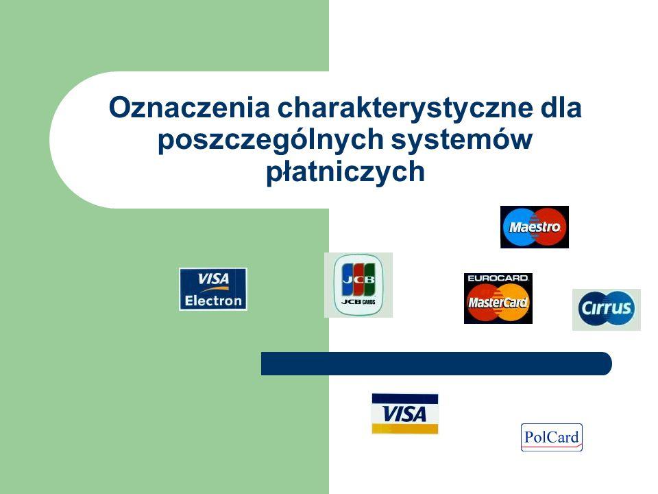 Oznaczenia charakterystyczne dla poszczególnych systemów płatniczych